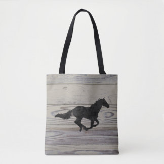 Rustic Wood Galloping Horse Watercolor Silhouette Tote Bag