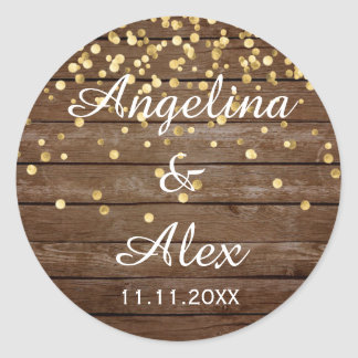 Rustic Wood Gold Confetti Wedding Thank You Classic Round Sticker