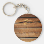 Rustic Wood Grain Boards Design Country Gifts Basic Round Button Key Ring