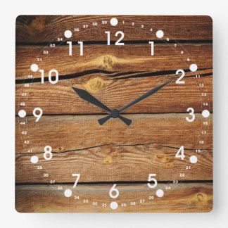 Rustic Wood Grain Boards Design Country Gifts Square Wall Clock