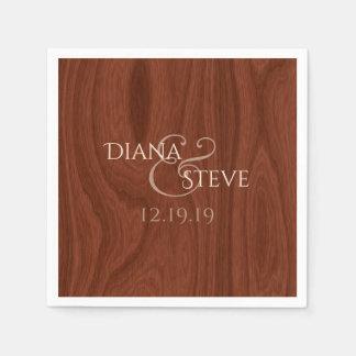 Rustic Wood Grain Elegant Barn Wedding Monogram Paper Serviettes