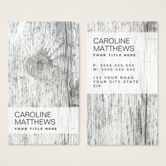 Rustic wood grain modern business card