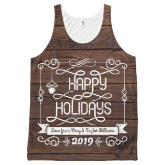 Rustic Wood Happy Holidays Christmas Typography All-Over Print Tank Top