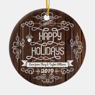 Rustic Wood Happy Holidays Christmas Typography Christmas Ornament