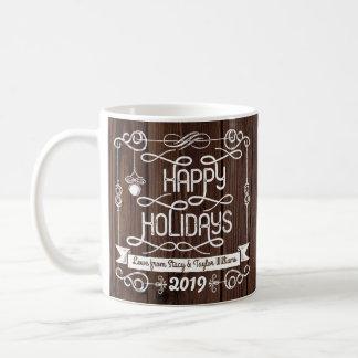 Rustic Wood Happy Holidays Christmas Typography Coffee Mug