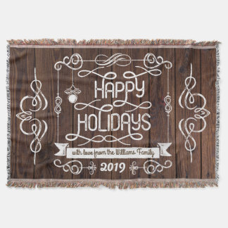 Rustic Wood Happy Holidays Christmas Typography Throw Blanket