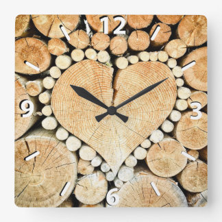 Rustic, Wood Heart, Country Square Wall Clock