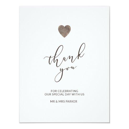 Rustic wood heart thank you card - flat