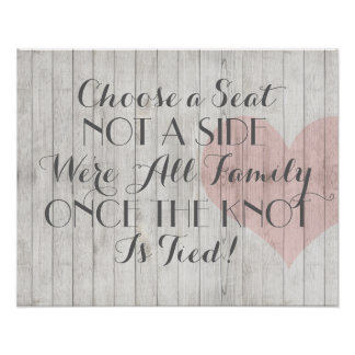 Rustic Wood Heart Wedding Seating Poster