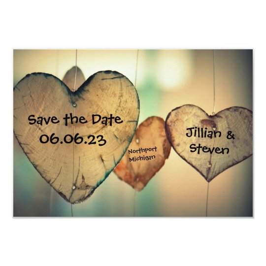 Rustic Wood Hearts - 3x5 Save the Date