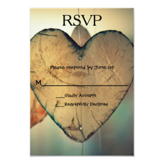 Rustic Wood Hearts - RSVP Card