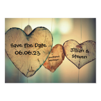 Rustic Wood Hearts - Save the Date 5x7 Card