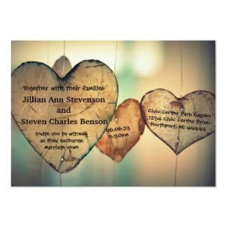 Rustic Wood  Hearts - Wedding Invitation
