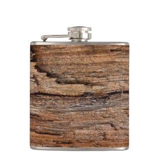 Rustic wood hip flask