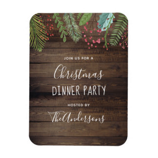 Rustic Wood Holly & Pine Christmas Holiday Party Magnet