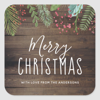 Rustic Wood Holly & Pine Christmas Holiday Party Square Sticker