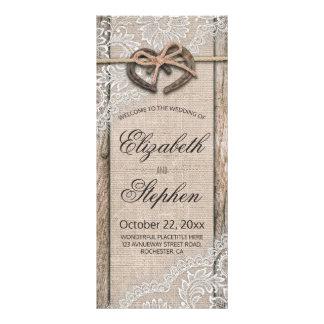 Rustic Wood Horseshoes Burlap Lace Wedding Program Rack Card
