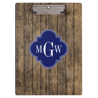Rustic Wood L Planks #1 Navy Quatrefoil 3 M'gram Clipboard