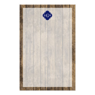Rustic Wood L Planks #1 Navy Quatrefoil 3 M'gram Customised Stationery