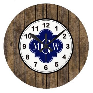 Rustic Wood L Planks #1 Navy Quatrefoil 3 M'gram Large Clock
