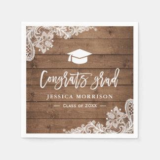 Rustic Wood Lace Congrats Grad Graduation Party Paper Napkin
