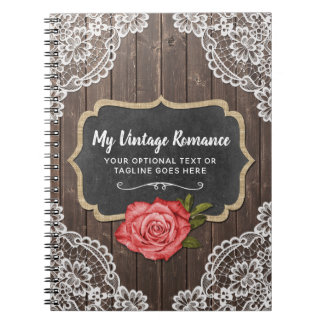 Rustic Wood & Lace Floral Chalkboard Country Chic Notebooks