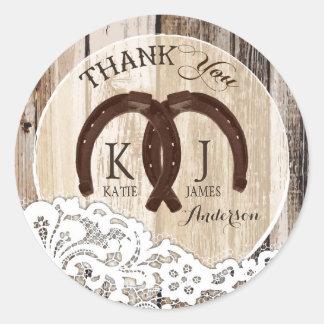 Rustic Wood Lace Horseshoe Country Wedding Round Sticker