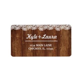 Rustic Wood Lace Label Address Label