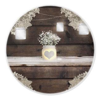 Rustic Wood, Lace & Mason Jars Barn Elegant Custom Ceramic Knob