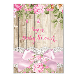 Rustic Wood Lace Pink Floral Baby Shower 11 Cm X 16 Cm Invitation Card