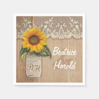 Rustic Wood Lace Sunflower Mason JAr Wedding Disposable Serviettes