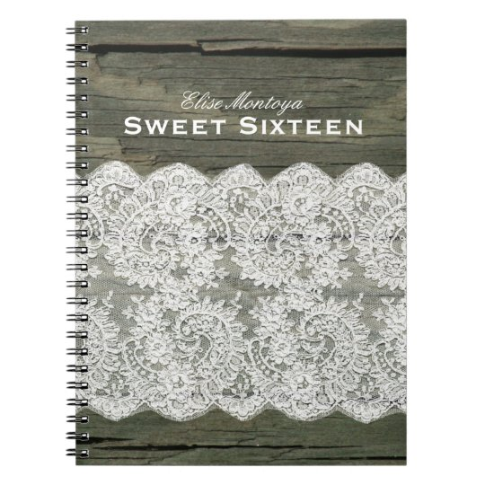 Rustic Wood Lace Sweet Sixteen Personalised Notebooks