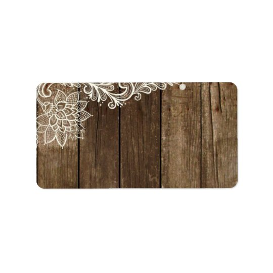 Rustic Wood Lace Wedding Mailing Address Label