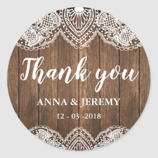Rustic Wood Lace Wedding Sticker