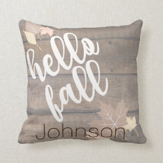 Rustic Wood & Leaves Hello Fall Throw Pillow