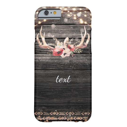 Rustic Wood & Lights Floral Antlers Boho Chic Glam Barely There iPhone 6 Case