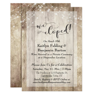 Rustic Wood Lights We Eloped Typography, Reception Card