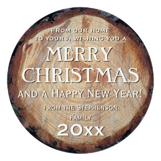 Rustic Wood Log Cut Tree Custom Christmas Greeting Personalized Invites