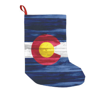 Rustic wood look Colorado flag holiday stocking