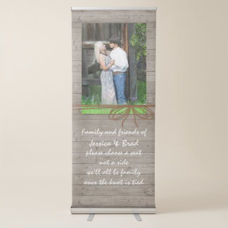 Rustic Wood Look Wedding Photo Retractable Banner
