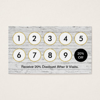 Rustic Wood Loyalty Punch Business Card