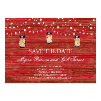 Rustic Wood Mason Jar and Lights Save the Date Card