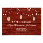 Rustic Wood Mason Jar and Lights Save the Date Personalised Announcement