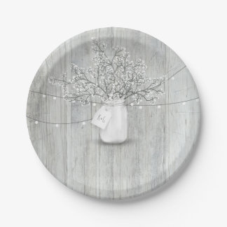 Rustic Wood Mason Jar Baby's Breath Barn Wedding 7 Inch Paper Plate
