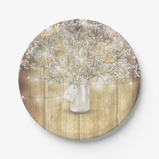Rustic Wood Mason Jar Baby's Breath Barn Wedding Paper Plate