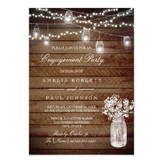 Rustic Wood Mason Jar Engagement Party Invitation