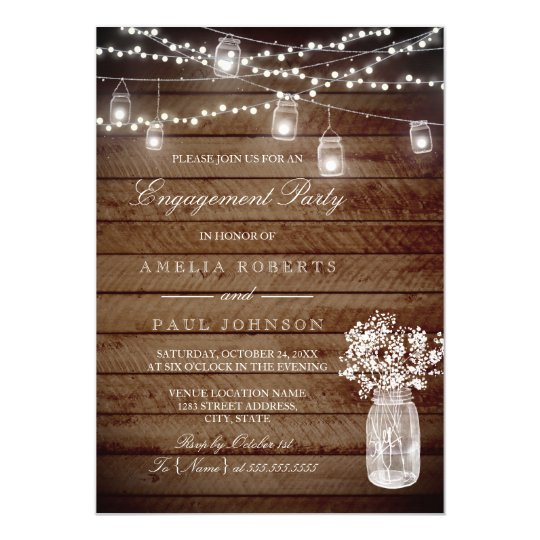 Rustic Wood Mason Jar Engagement Party Invitation