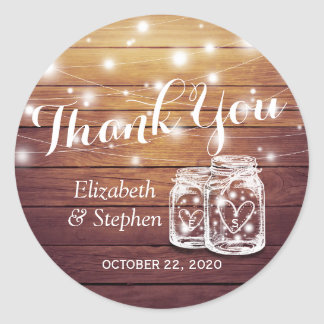 Rustic Wood Mason Jar Lamp Wedding Favor Thank You Classic Round Sticker