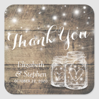 Rustic Wood Mason Jar Lamp Wedding Favor Thank You Square Sticker