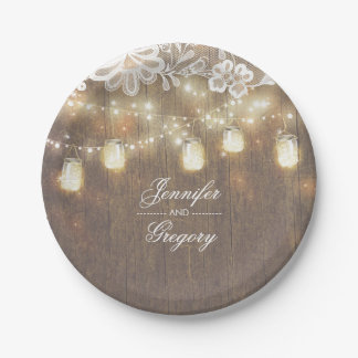 Rustic Wood Mason Jar Lights Lace Barn Wedding 7 Inch Paper Plate